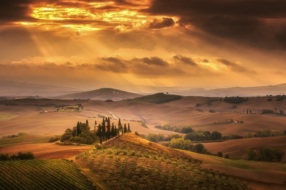 Tuscany, Sunrise, Clouds, Italy, Pienza, Ryszard Lomnicki