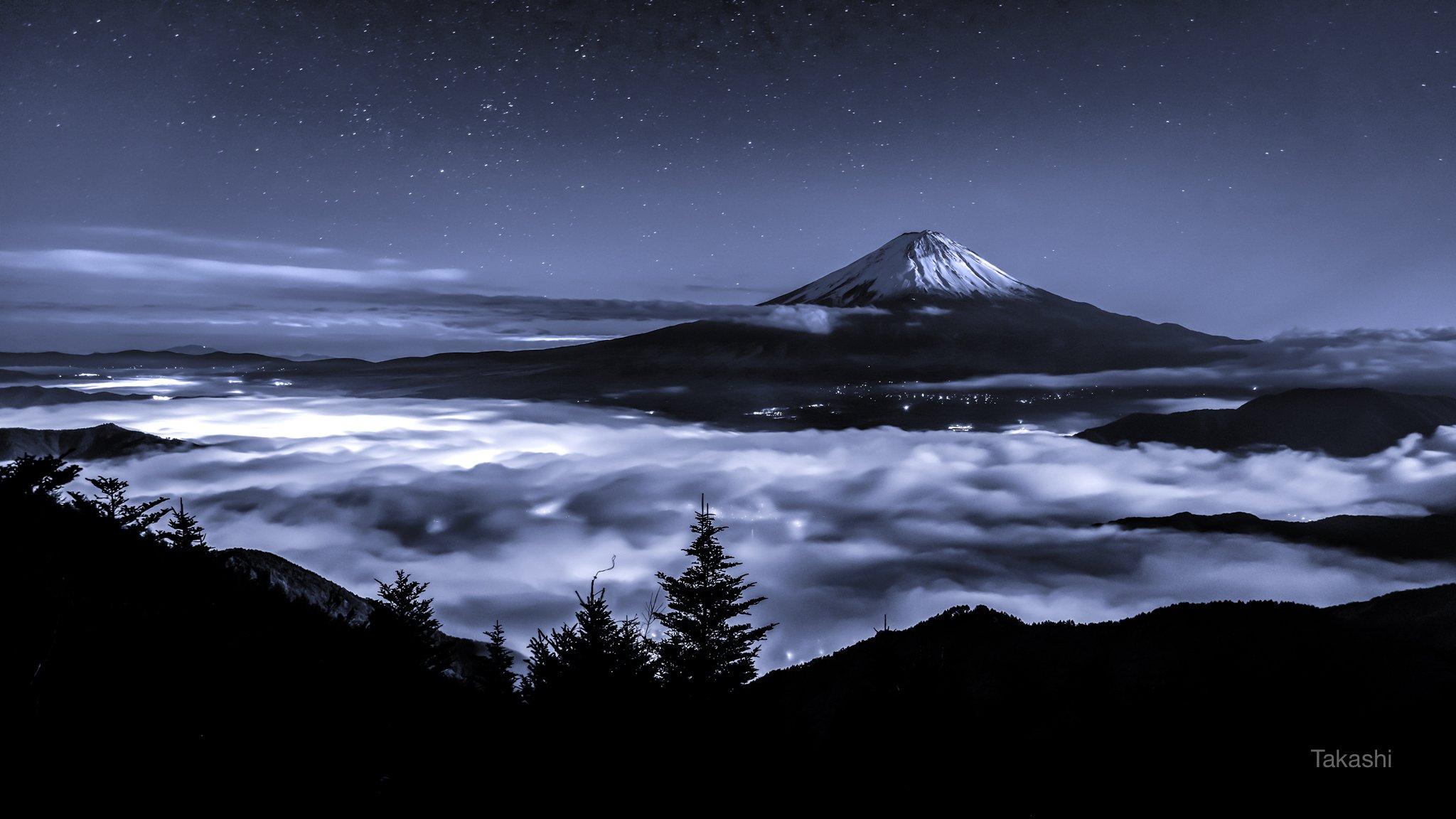 Fuji,Japan,mountain,clouds,sky,stars,sea of clouds,tree,night,moonlit,amazing,beautiful,snow, Takashi