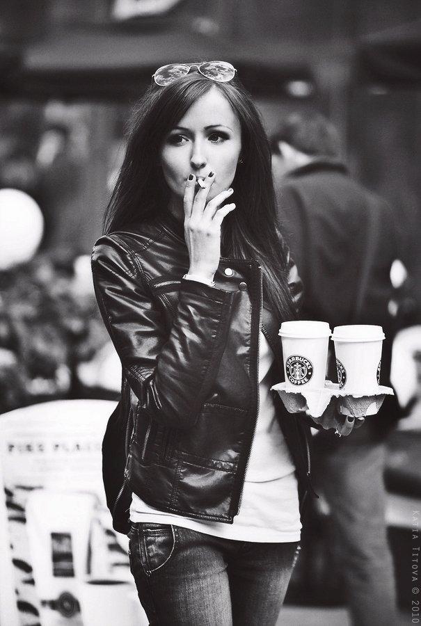 девушка, портрет, кофе, сигарета, Katia KaiTea Titova