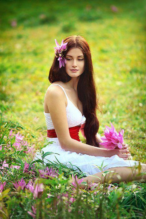 луг, лето, сон-трава, фиолетовый, цветы, девушка, Лия Мстиславская