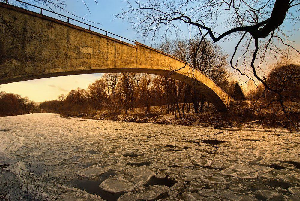 закат, река, зима, мост, Александр Титаренко