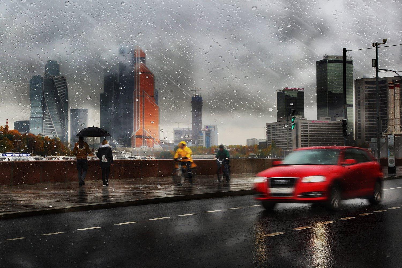 дождь, капли, машина, трасса, дорога, москва, зонт, скорость, двидение, асфальт, город, осень, Alla Sokolova