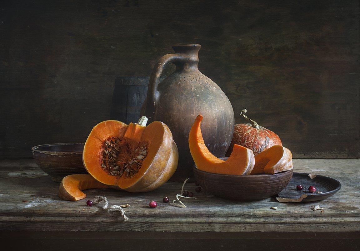 натюрморт,still life, тыква, калина, pumpkin, клюква, Евгений Корниенко