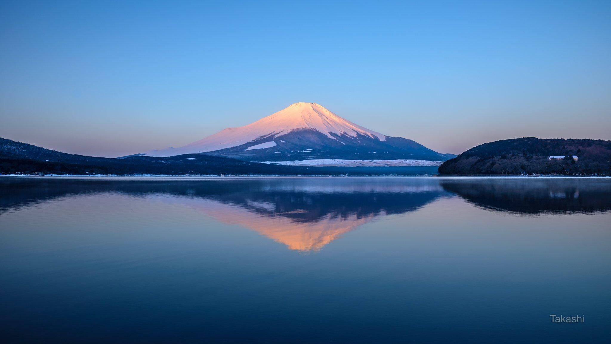 Fuji,Japan,mountain,snow,reflection,pink,sky,blue,lake,water,winter,beautiful,amazing,, Takashi