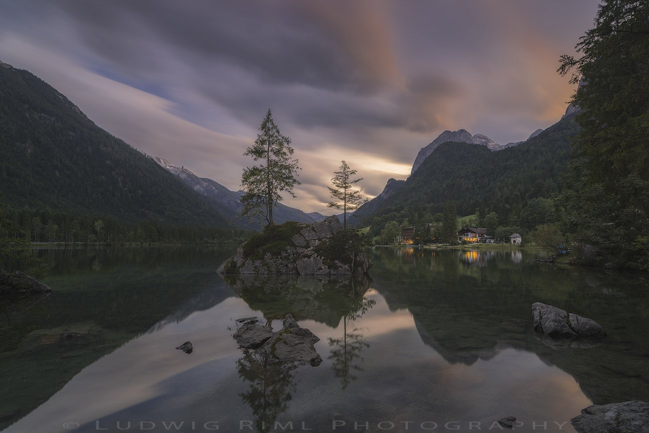 after sunset, bavaria, beach, berchtesgaden, calmness, europe, evening, evening glow, flags, forest, germany, green, harmony, hintersee, hotel, lake, lights, mountain glow, mountains, nature, outdoors, ramsau, rock, seaside, serenity, shore, snow, still, , Ludwig Riml