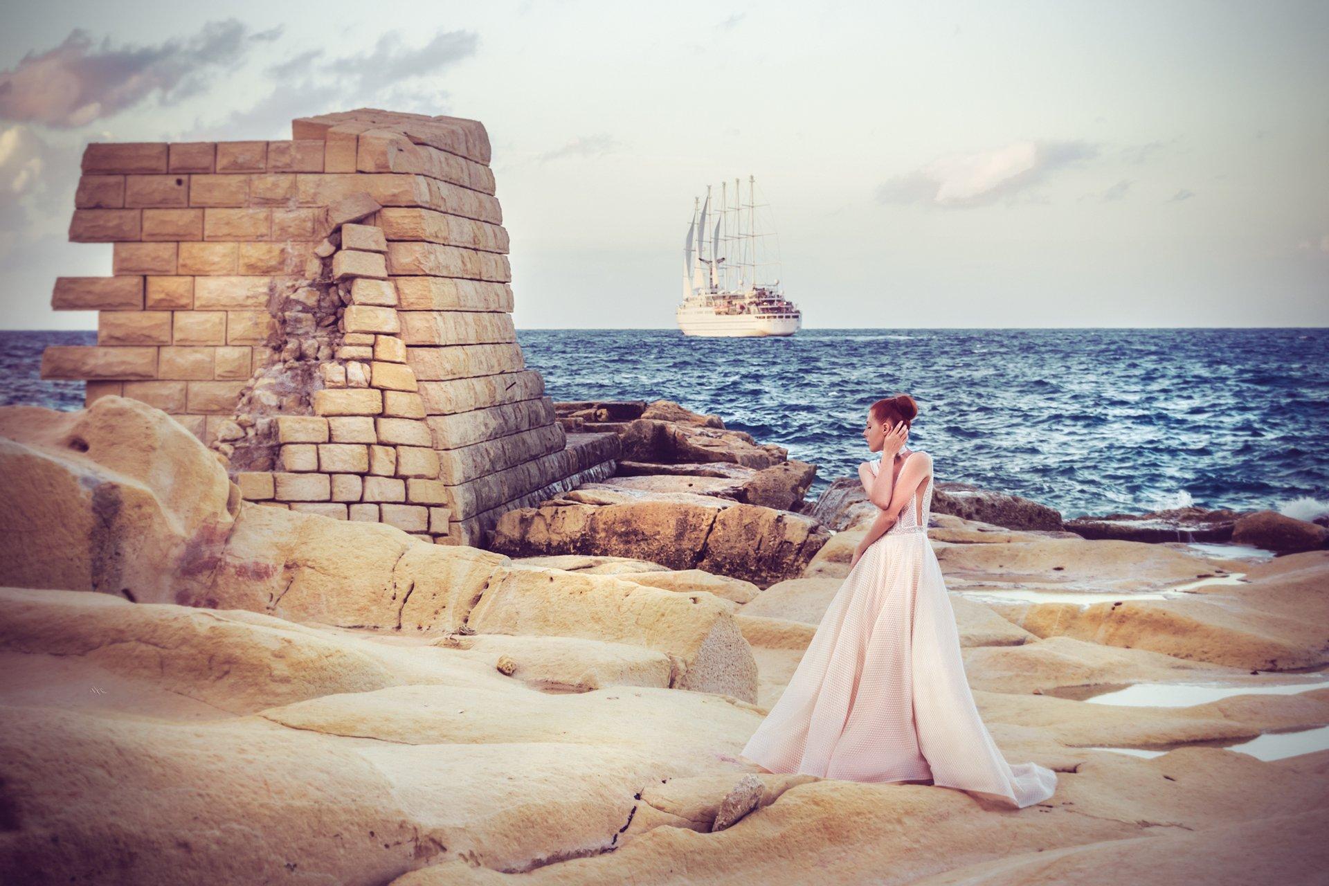 woman, fashion, sunset, malta, dress, beauty, vessel, sea, colros, Руслан Болгов (Axe)