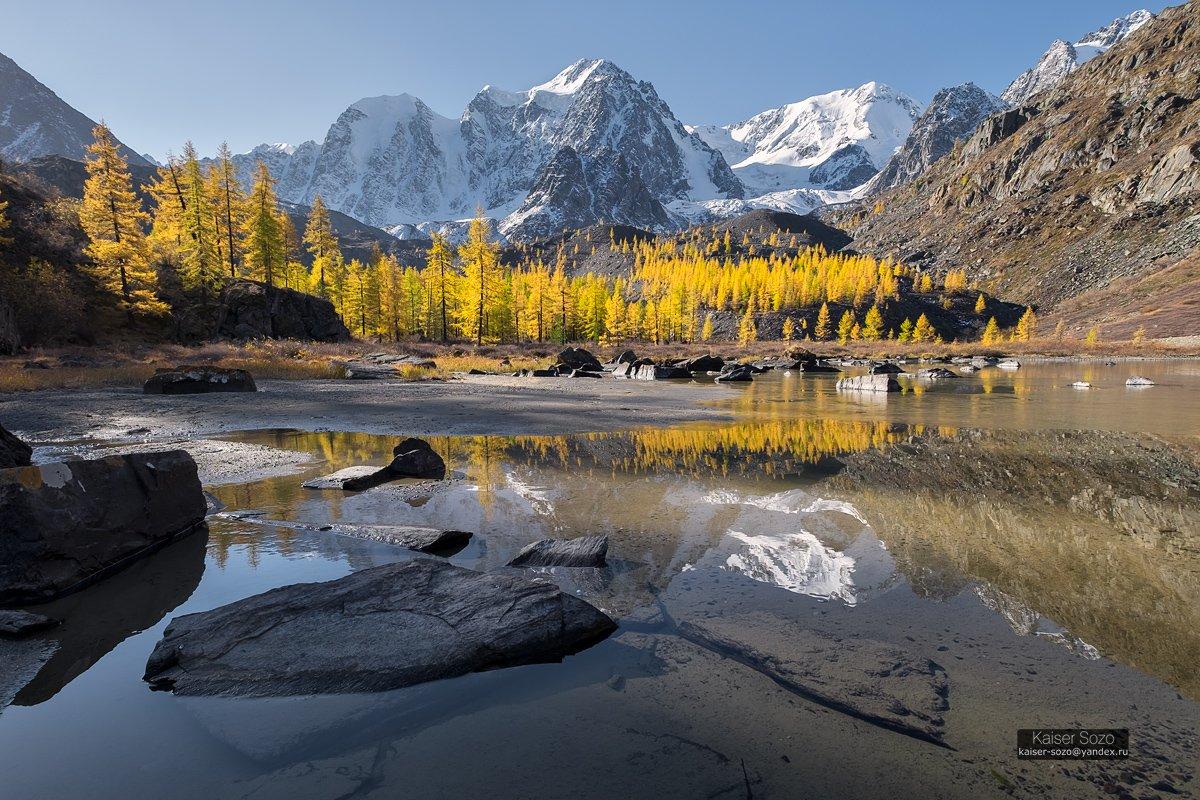 россия, алтай, горный алтай, шавлинские озера, вершины, снег, отражение лиственницы, золотая осень, Kaiser Sozo