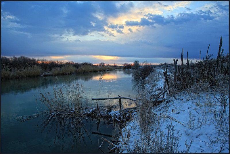 утро, река, первый снег, владимир