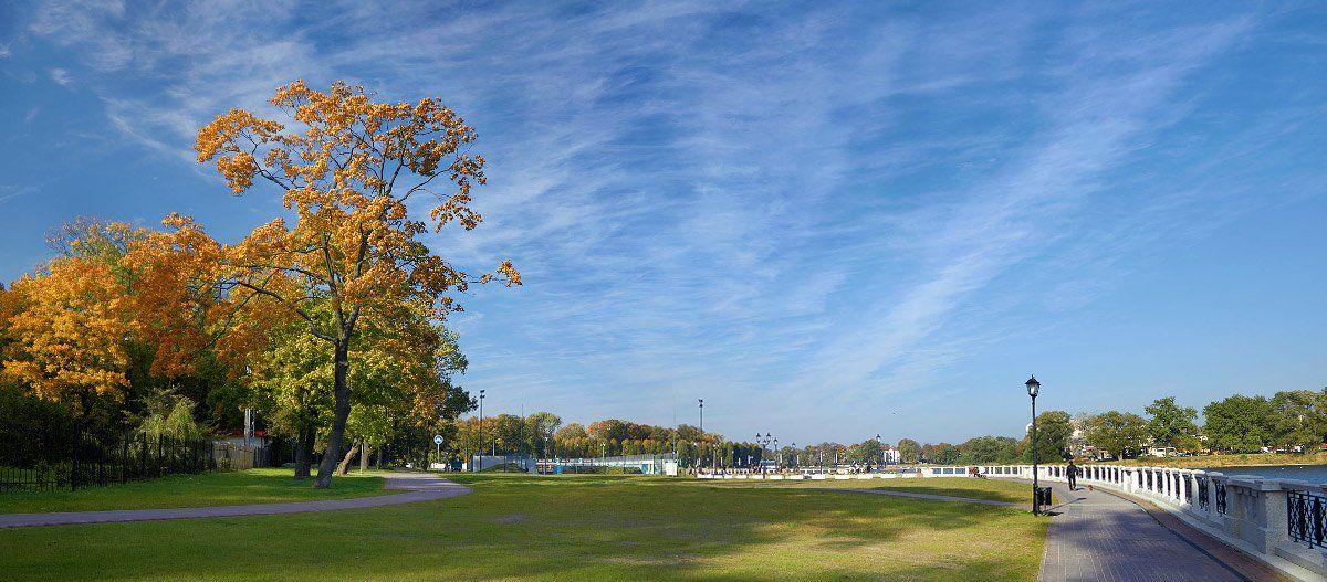 осень, набережная, панорама, White