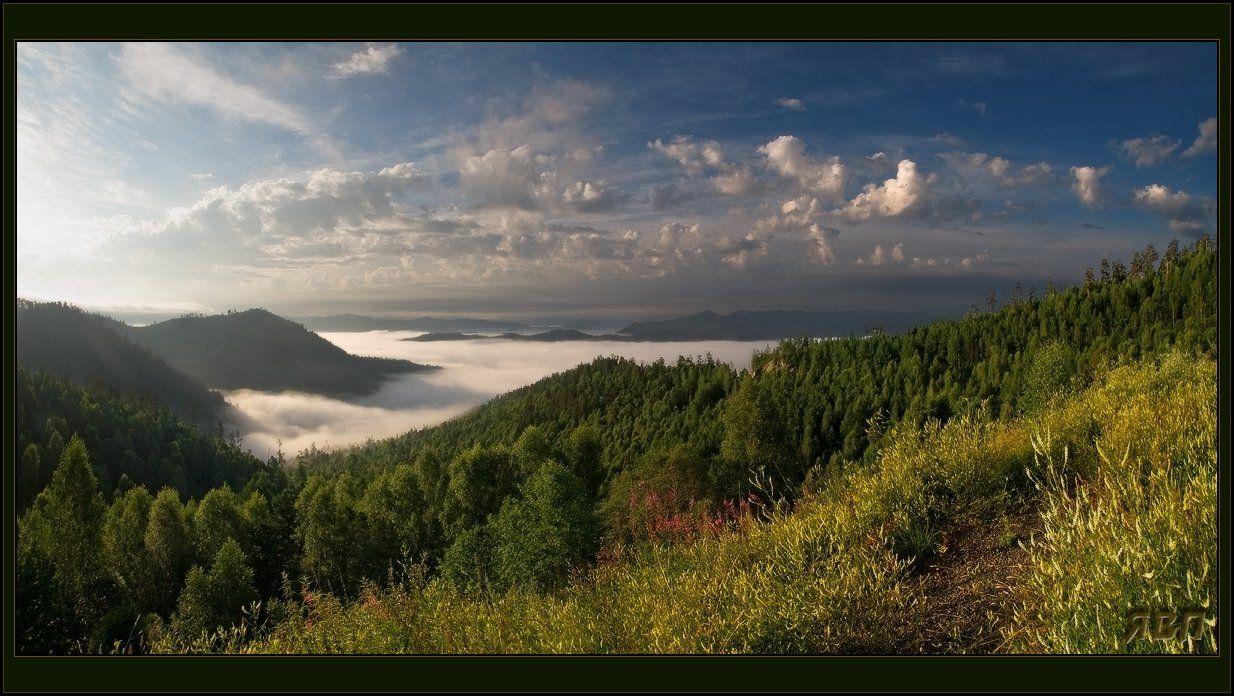 саяны, утро, туман, перевал, Виталий из Н-ска