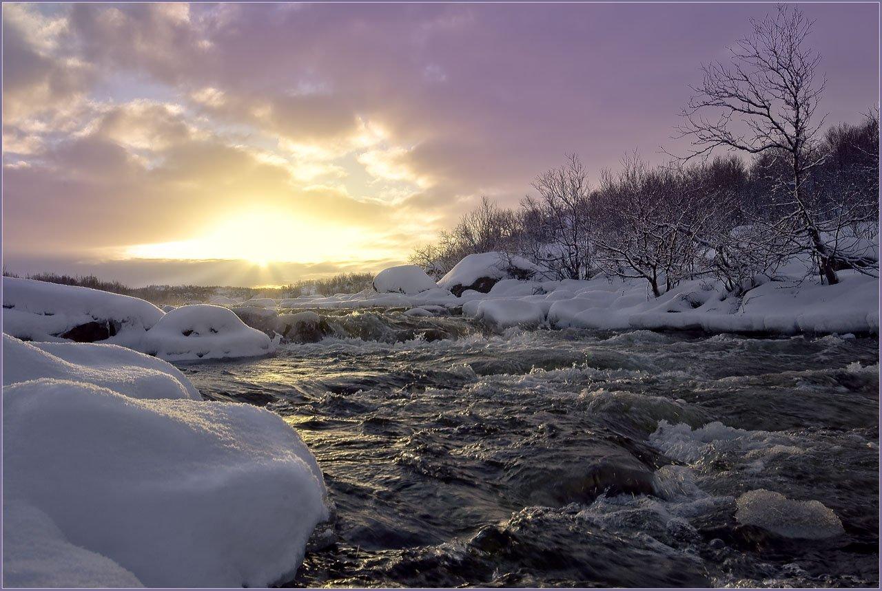 река, титовка, колльский, закат, снег, сугробы, ноябрь, Lara