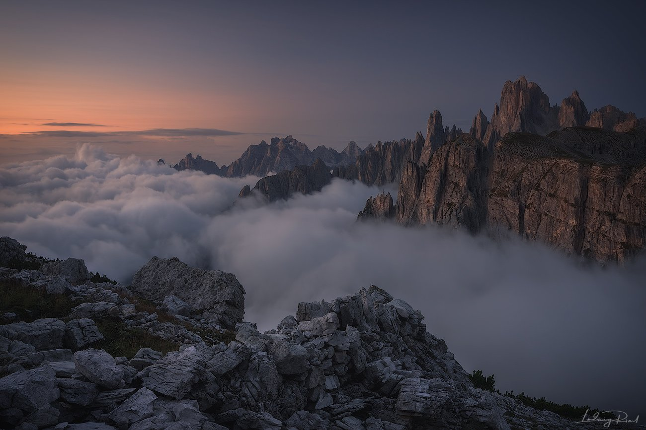 alps, awakening, beauty, before sunrise, chalk stone, cliffs, clouds, dolomites, fog, foggy, hiking, italy, klimbing, morning, morning glow, mountain top, mountaineers, mountains, nature, outdoors, rocks, scenic, south tyrol, sunrise, trkking, valley, Ludwig Riml