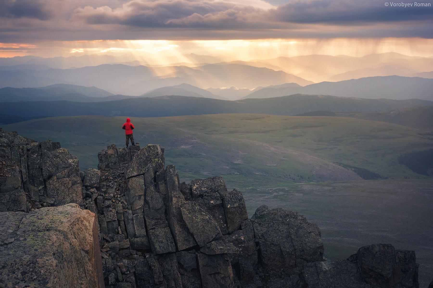 алтай, горы, рассвет, семинский. горный алтай,, Roman Vorobyev