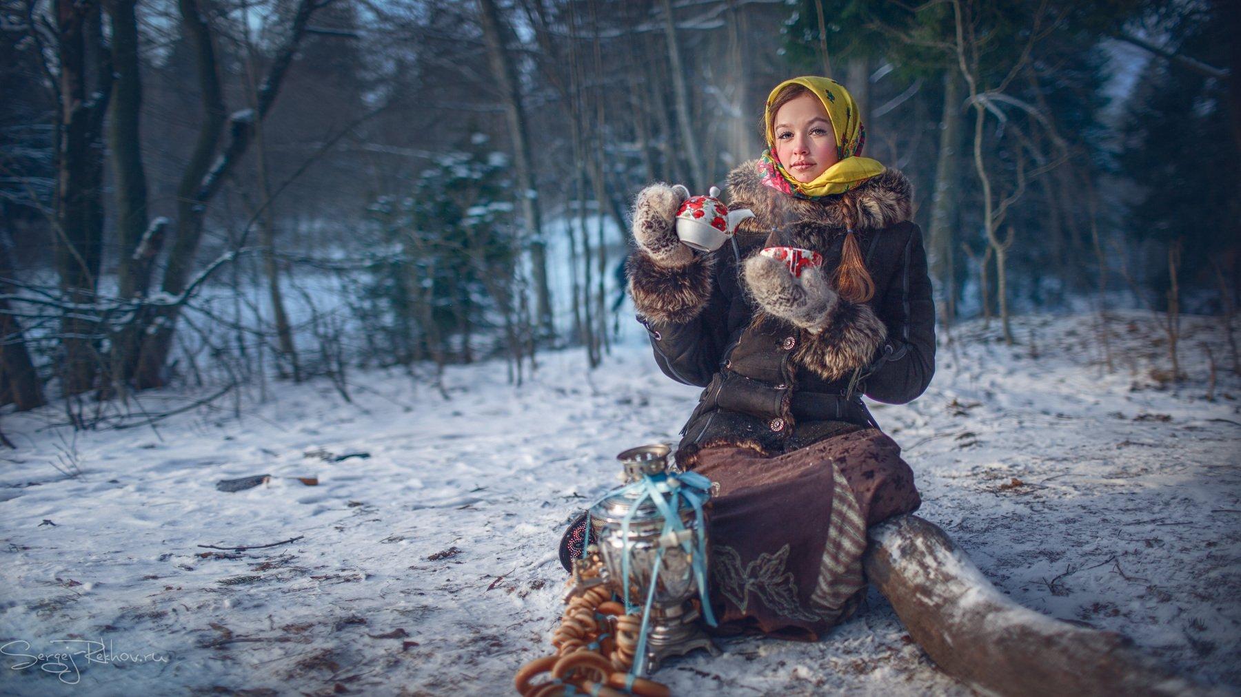 девочка, парк, зима, мороз, чай, самовар, рехов, сергейрехов, rekhov, sergejrekhov, Сергей Рехов