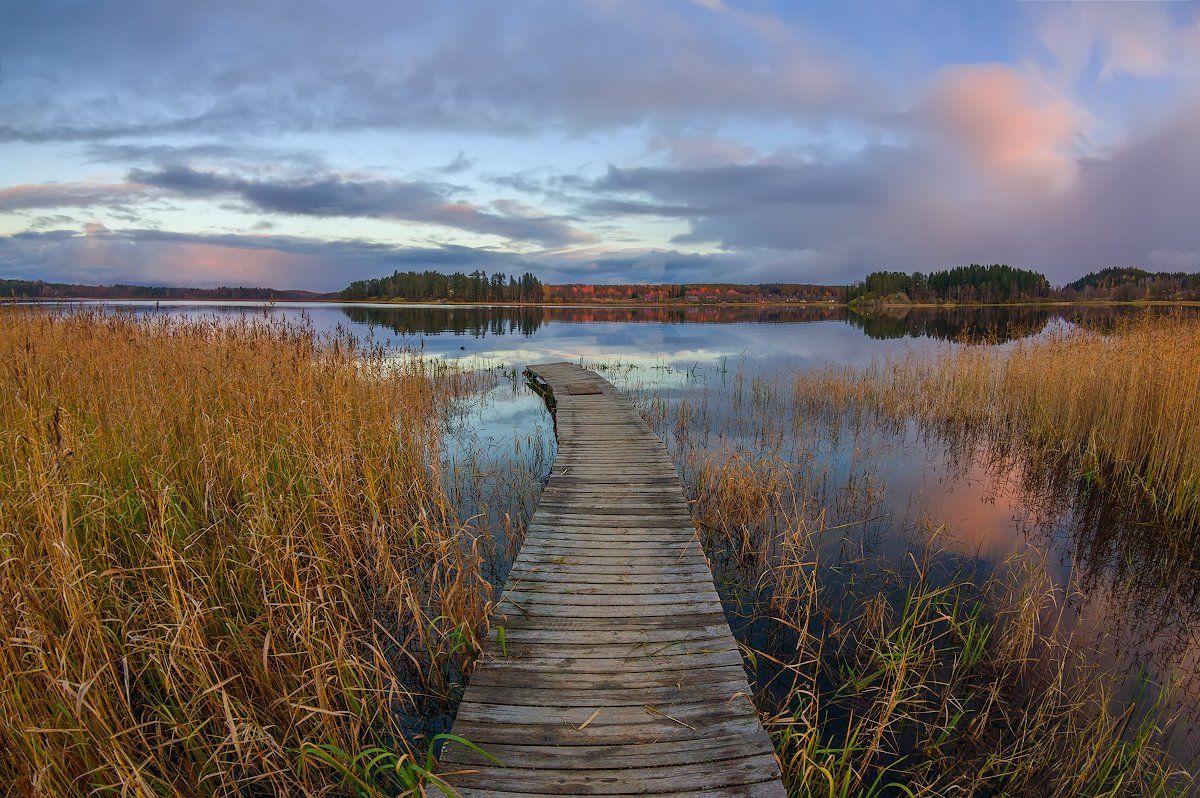 озеро ладога карелия вечер облака берег мостик, Марина Мурашова