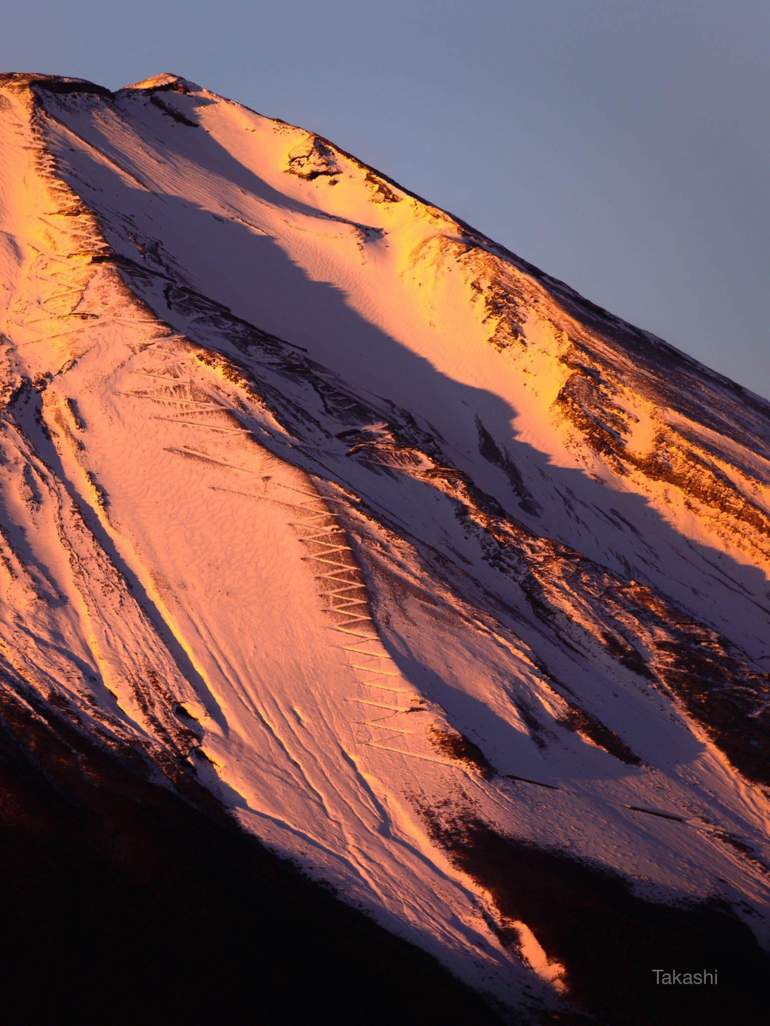 Fuji,mountain,Japan,snow,trail,road,orange,pink,, Takashi