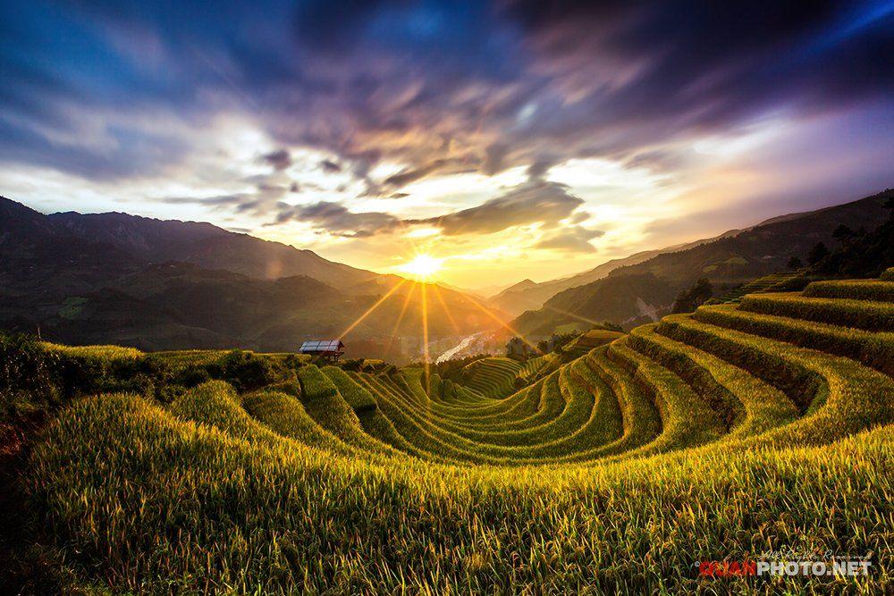 quanphoto, landscape, long_exposure, sunset, sundown, mountains, rice, terrace, farmland, agriculture, valley, mucangchai, vietnam, quanphoto