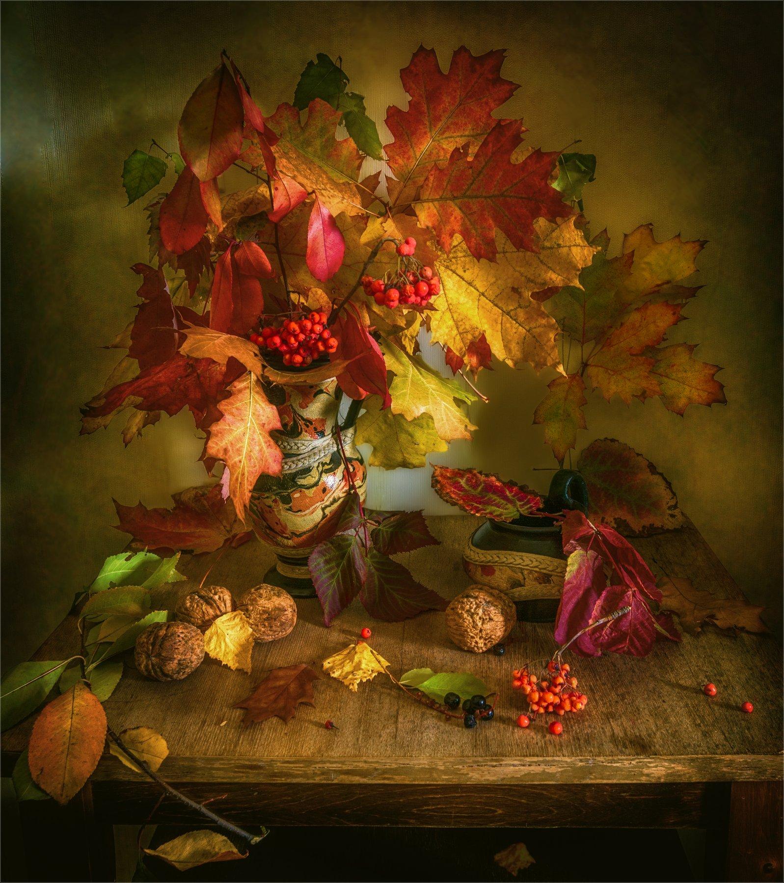 still life, натюрморт,    растение, природа,    осень, листья, осенние листья,  кувшин,  винтаж, ваза, орехи, рябина, ягода, беспорядок,, Михаил MSH