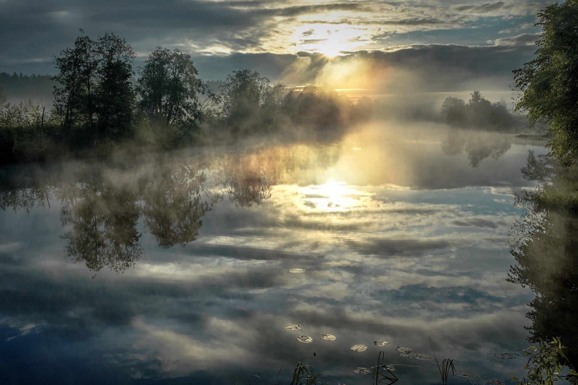 пейзаж, рассвет, утро, река, отражения, деревья, небо, Андрей Чиж