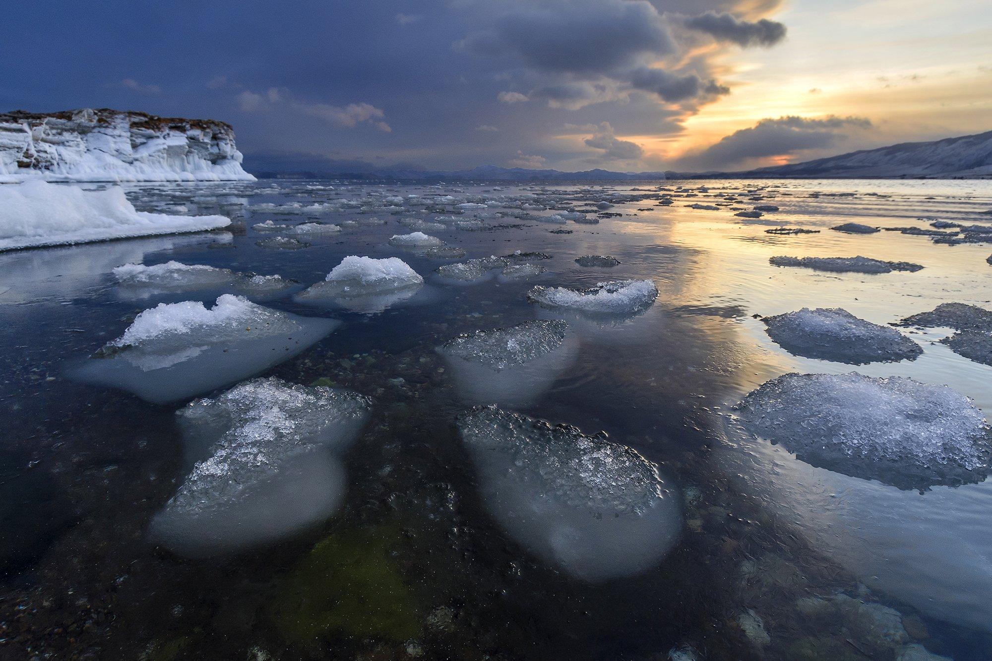 байкал, лед, закат, снег, вода, природа, Елена Вторушина
