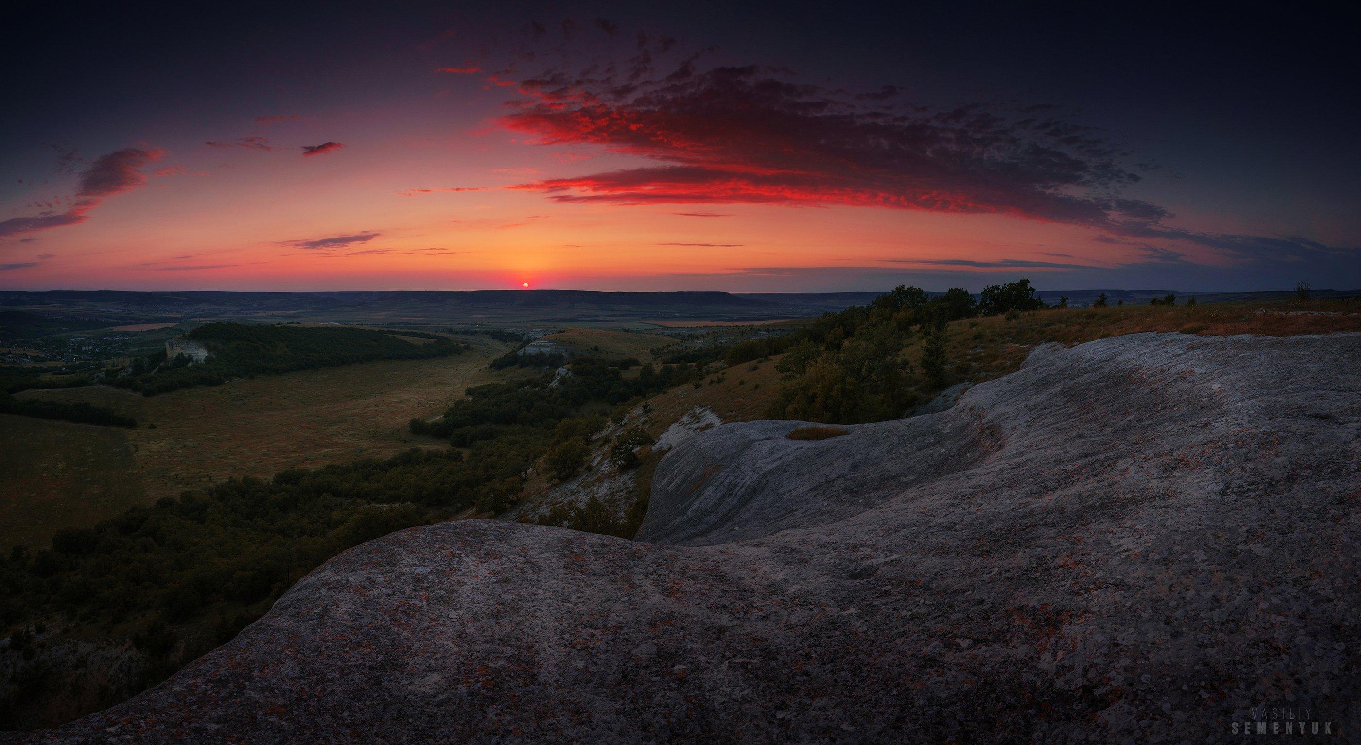 крым, белокаменка, закат, кара-тау, скалы, солнце, облака, панорама., Семенюк Василий