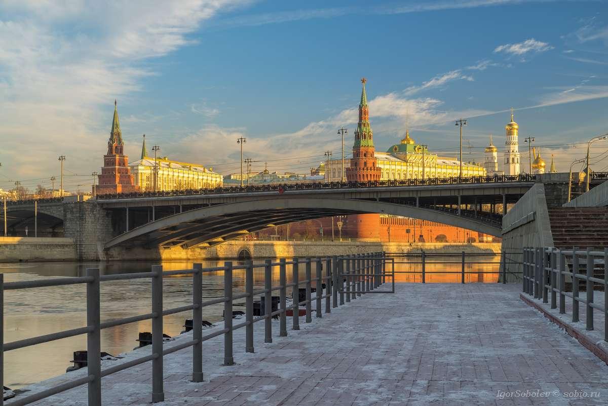 москва, кремль, утро, большой каменный мост, москва-река, moscow, kremlin, morning,great stone bridge, moscow river,, Соболев Игорь