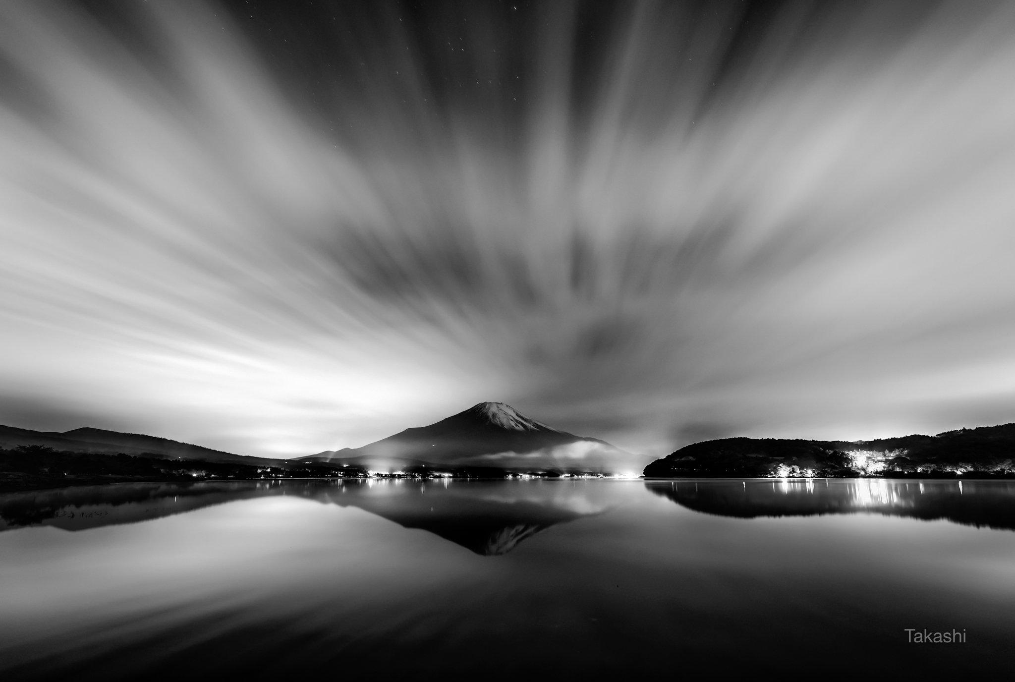 Fuji,mountain,Japan,cloud,night,reflection,flow,lake,water,beautiful,amazing,wonderful,monochrome,, Takashi
