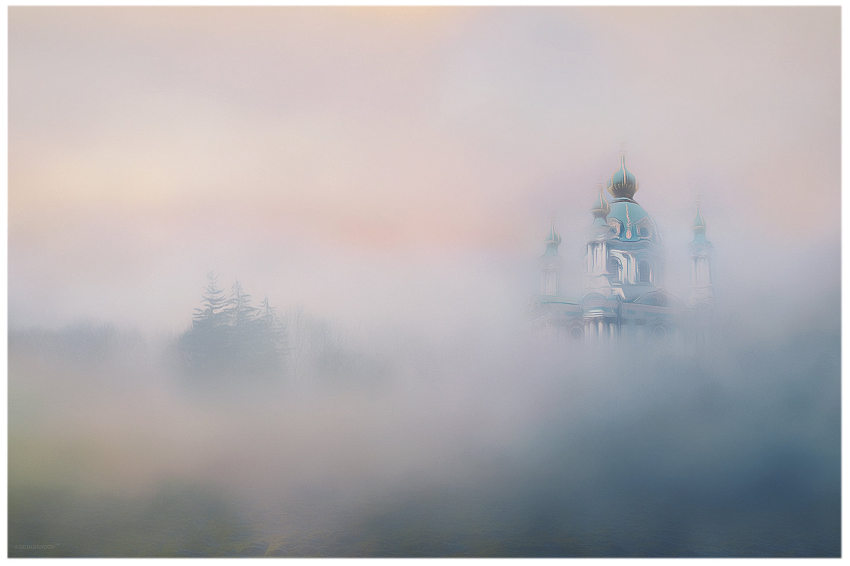 церковь, поле, туман, утро, Sergii Vidov