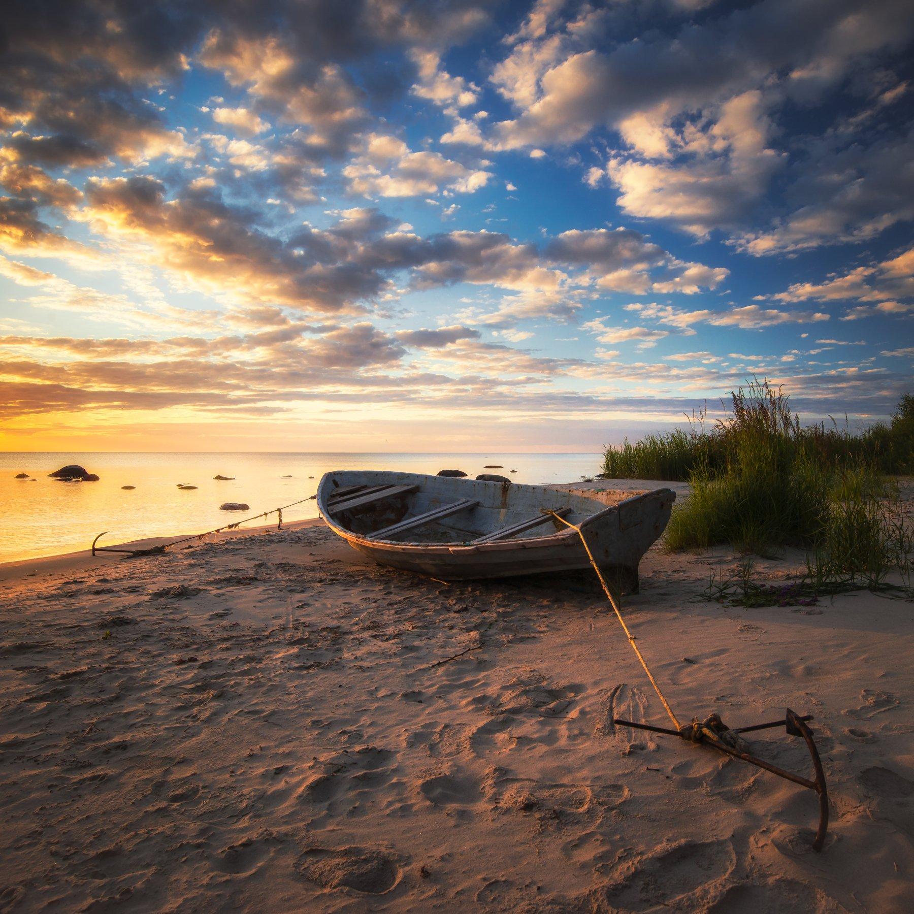 море,пляж,лето,лодка,пейзаж,landscape,beach,sunrise,sea, Olegs Bucis