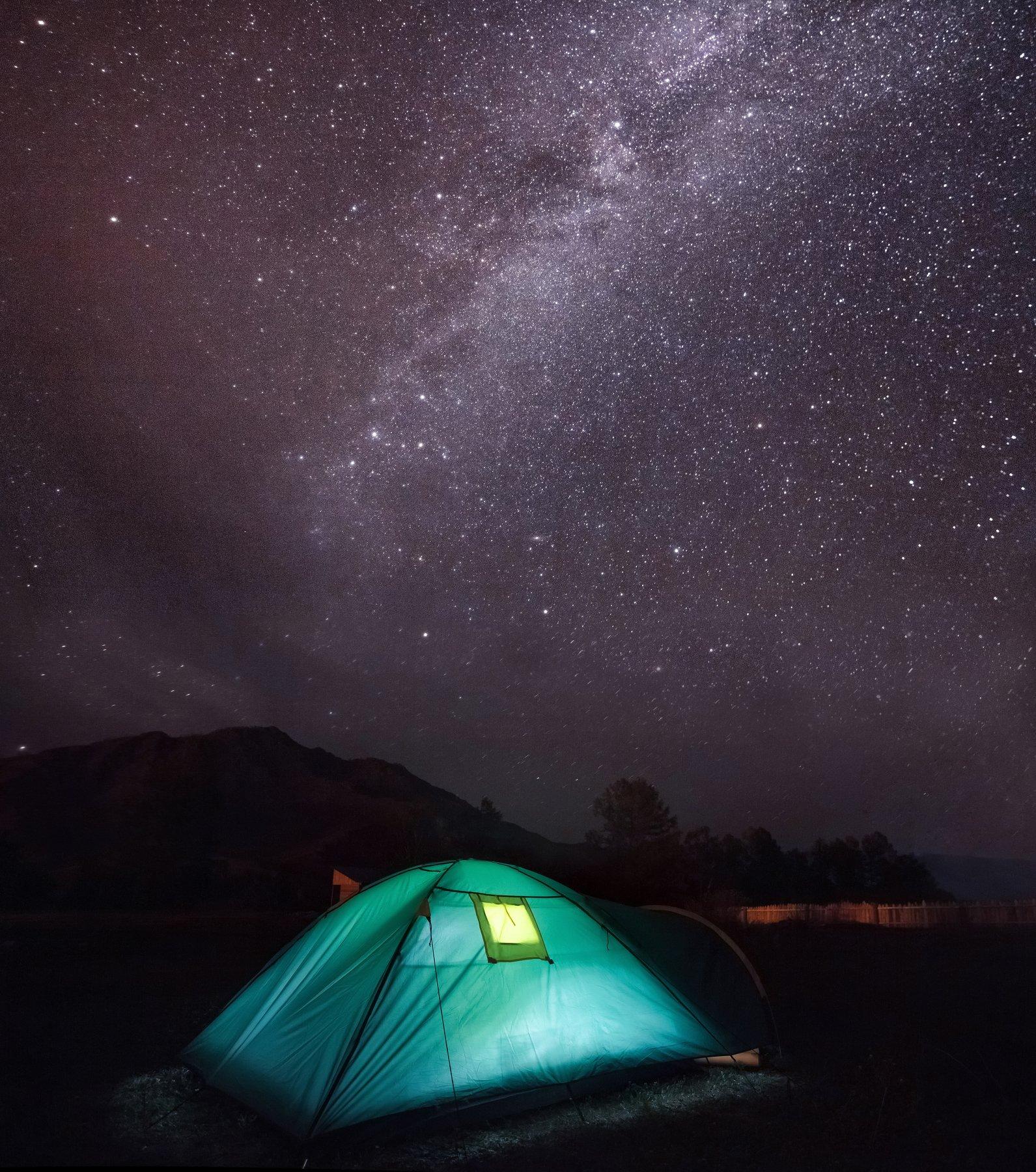 Алтай, пейзаж, звёзды, небо, горы, млечный путь, Россия, палатка, ночь, Голубев Алексей