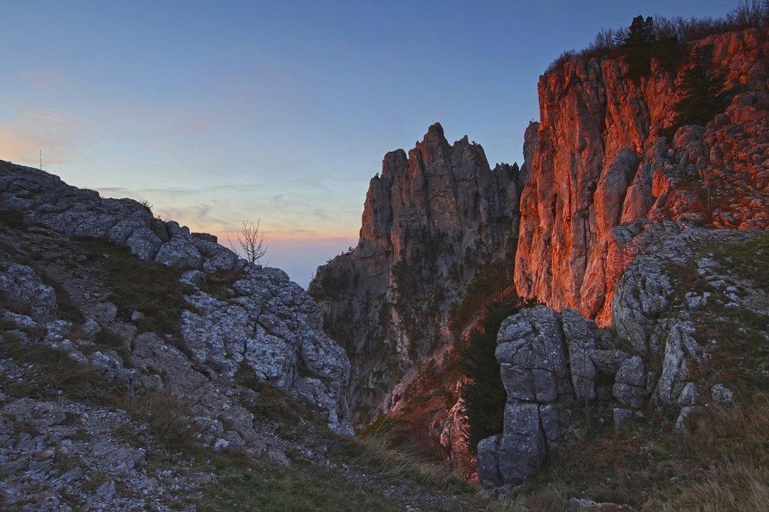 горы, небо, утро, свет, скалы, деревья, облака, рассвет, пейзаж, природа, крым,, Sergey Shulga