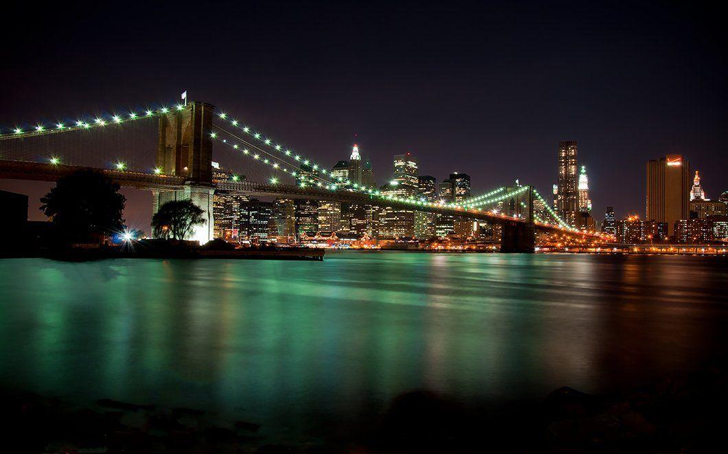 пейзаж, нью-йорк, мост, вода, город, огни, небоскреб, shining)