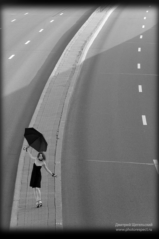 девушка, утро, зонт, петербург, Дмитрий Щегельский