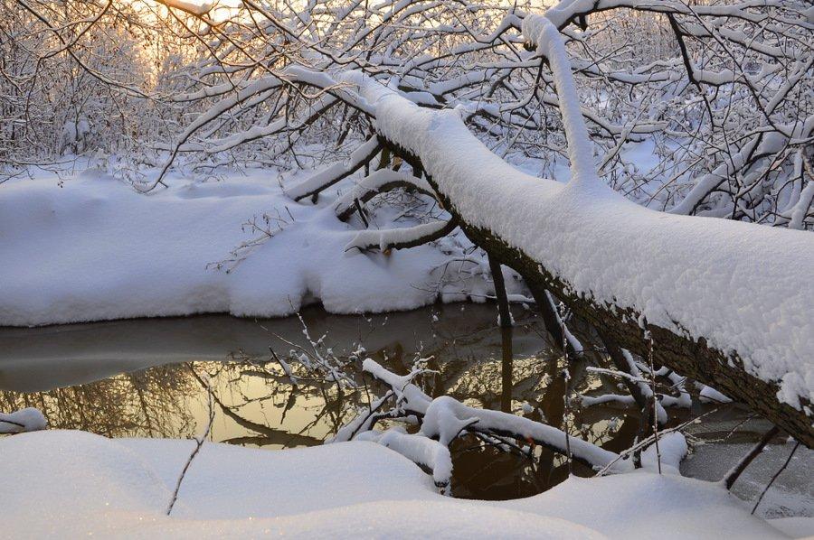 река, зима, снег, Света и Вася