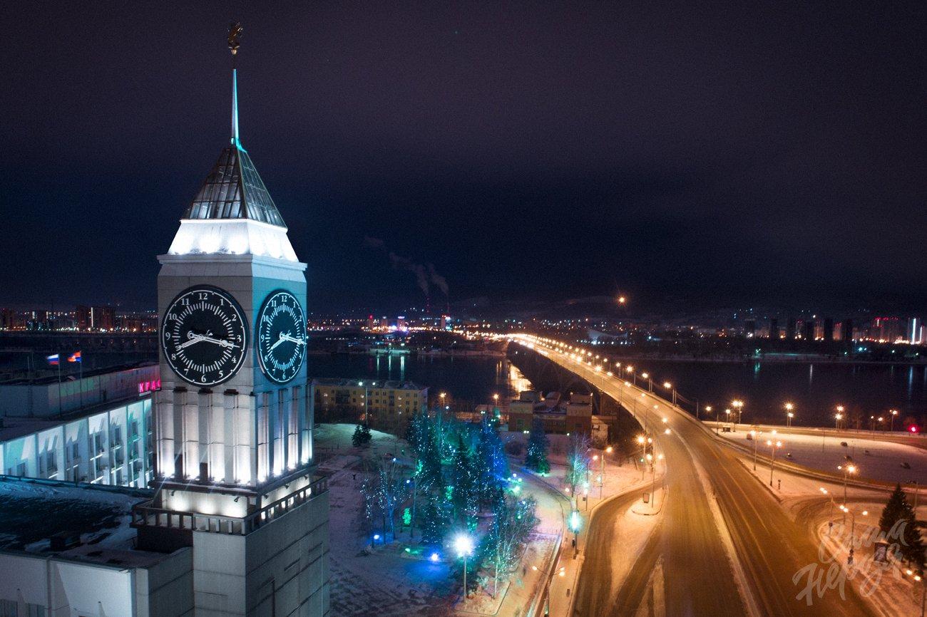 администрация, часы, красноярск, символ, сибирь, город, красноярский, достопримечательность, красивый, зима, пейзаж, енисей, Александр Нерозя