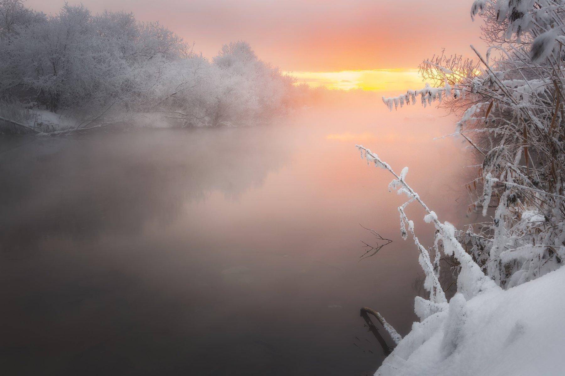 утро,река,туман,рассвет, деревья,снег, кусты, вода, отражения,екатеринбург,исеть,зима,сказка, Антон Кошетаров