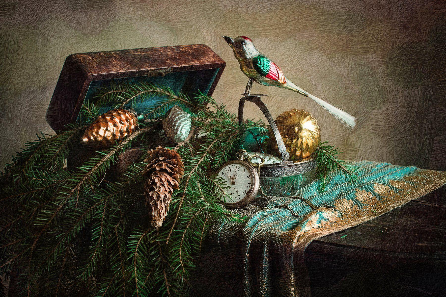 натюрморт, стекло, игрушки, ёлка, часы, новый год, Анна Петина