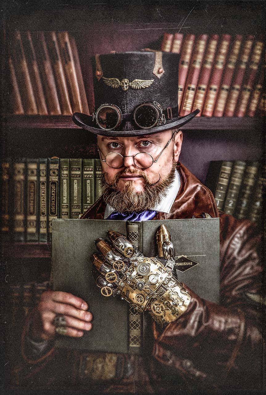 стимпанк,портрет,мужчина,очки,гогглы,steampunk,жанр,жанровый портрет,ч/б,глаза,викторианская эпоха,доктор Маркус,Лорд командующий,библиотека,книги,механическая рука, Кондратюк Андрей