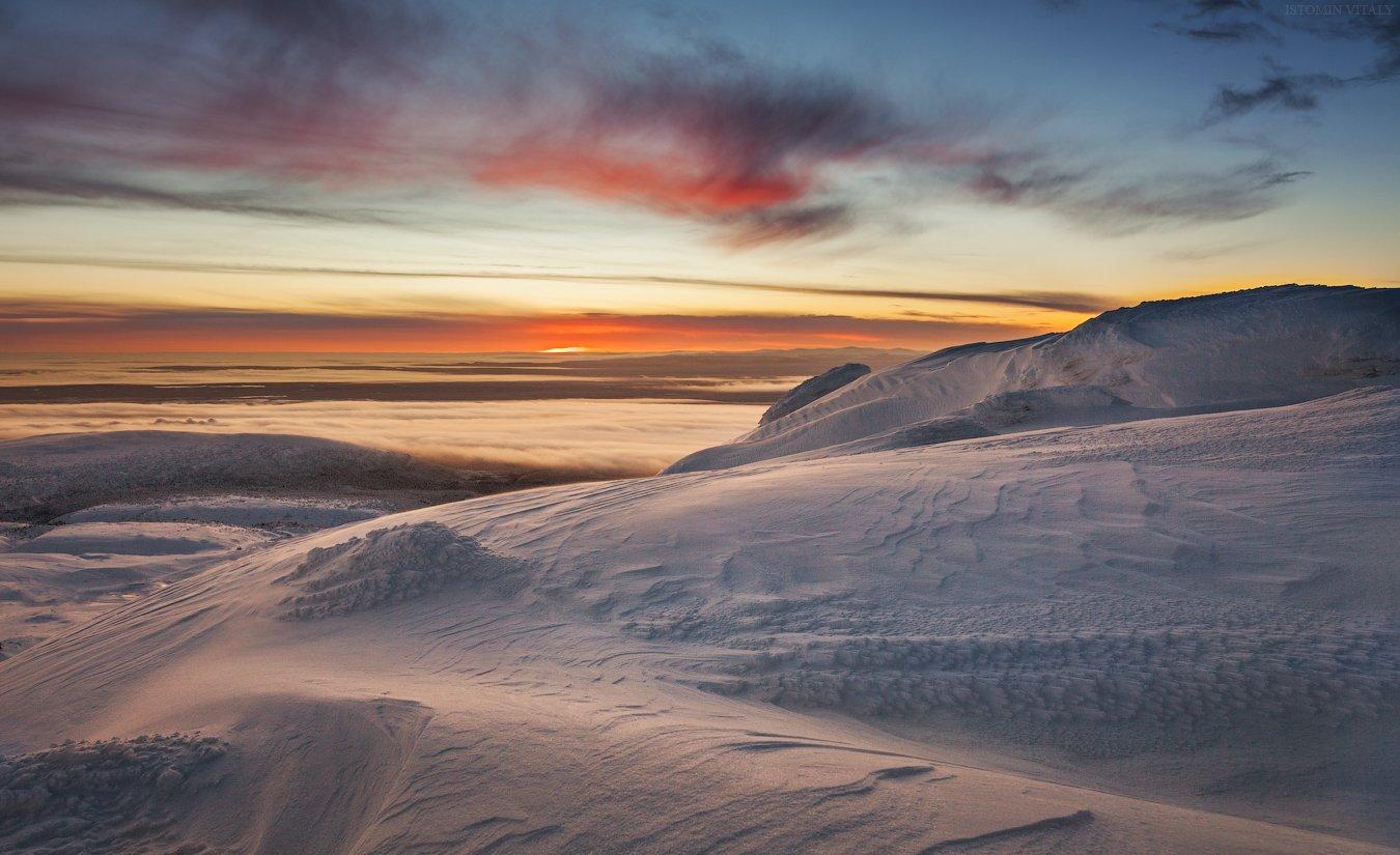 пейзаж,хибины,рассвет,полярная ночь,небо,горы,туман,перспектива,цвет, Истомин Виталий