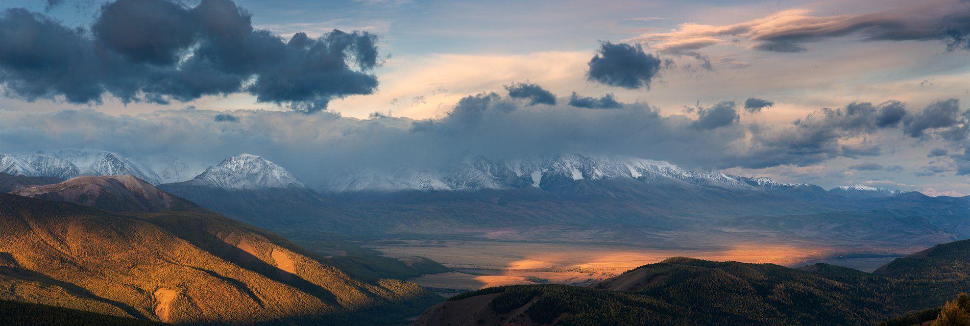 пейзаж, панорама, природа, путешествие, горы, хребет, алтай, северо-чуйский, чуйский, степь, долина, утро, рассвет, большой, красивая, высокие, небо, облака, сентябрь, осень, Дмитрий Антипов