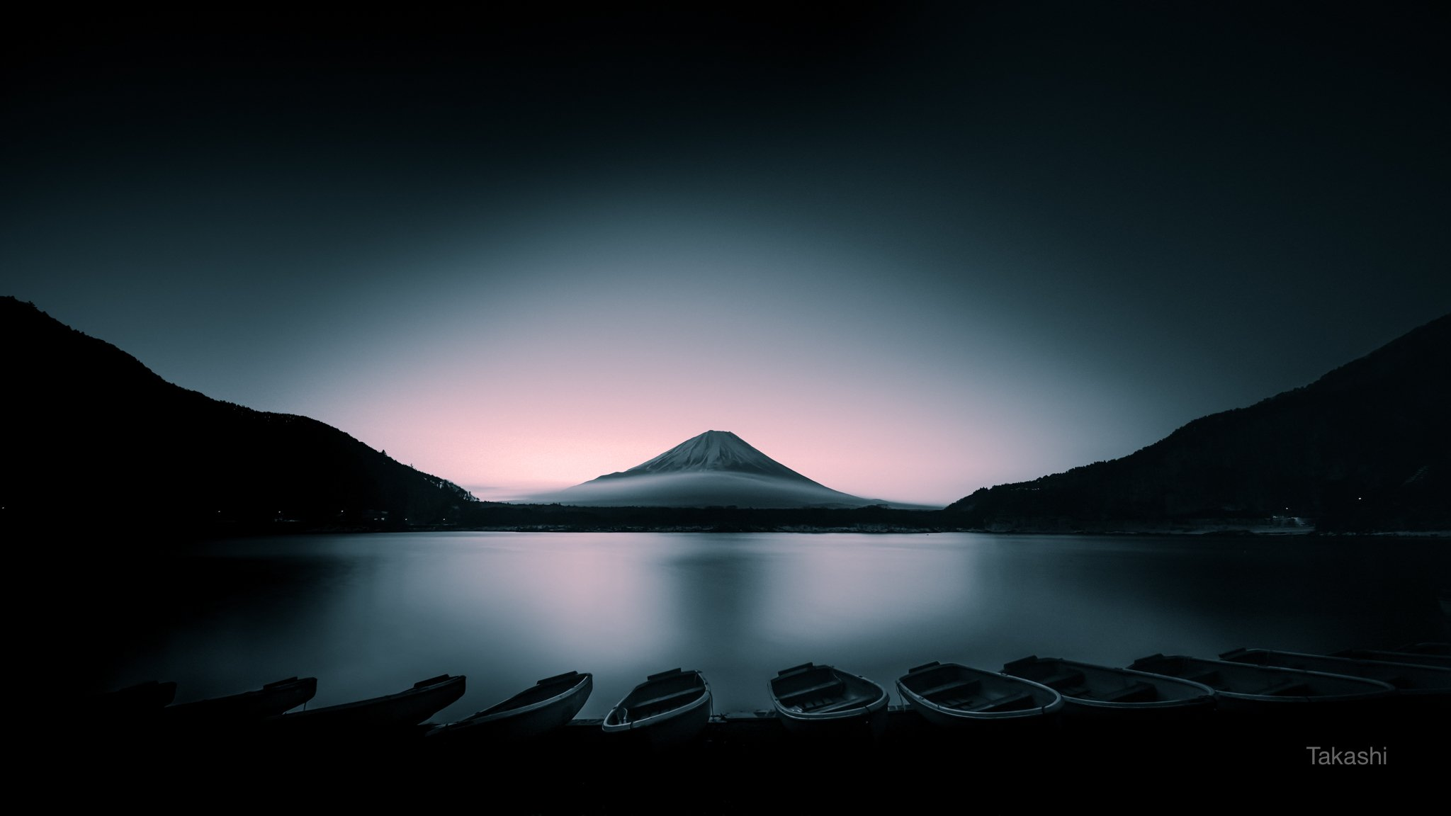 Fuji,Japan,mountain,lake,water,boat,sunrise,dawn,pink,green,beautiful,amazing,wonderful,, Takashi