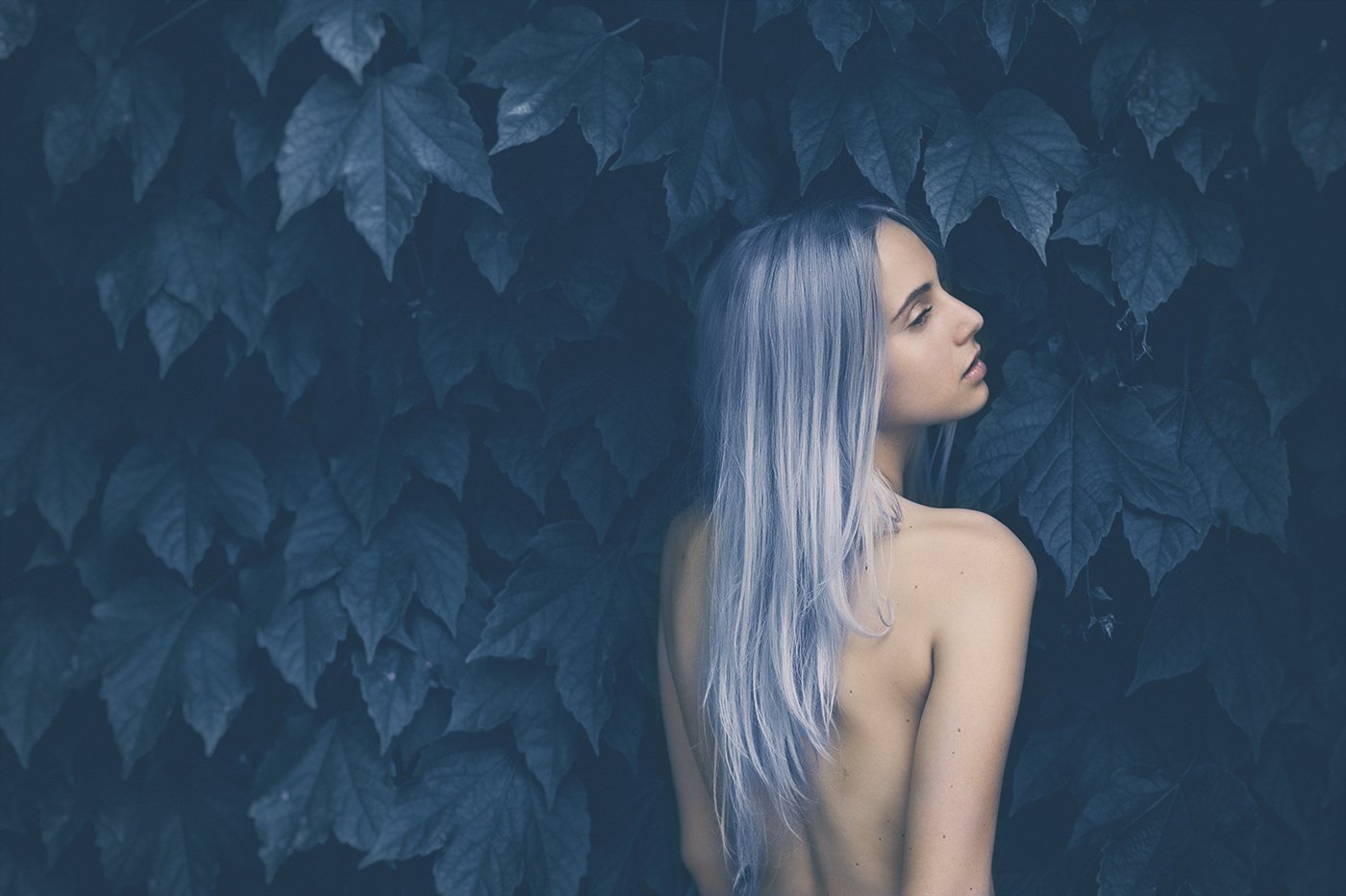 model,beauty,nude,body,leaves,nature,colors,blue,, roberto demaria