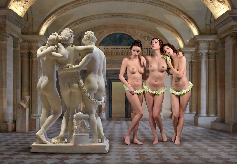 concept, collage, sculpture, museum, louvre, paris, model, vera lavender, posing, nude, portrait, dialog, stone, body, marble, Endegor
