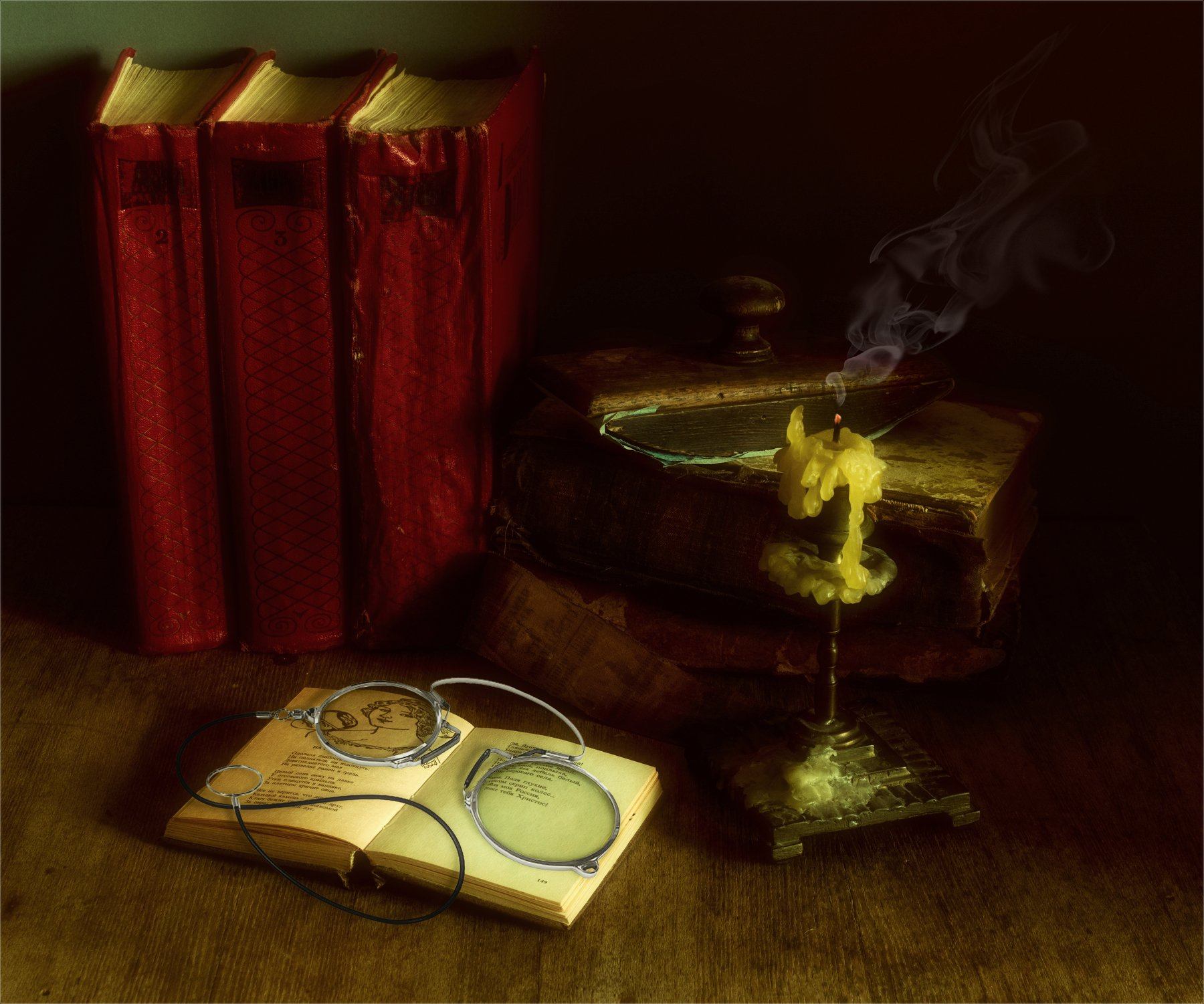 still life, натюрморт,  винтаж, ретро, книга, книги, свеча, пенсне, дым, пресс-папье, Михаил MSH