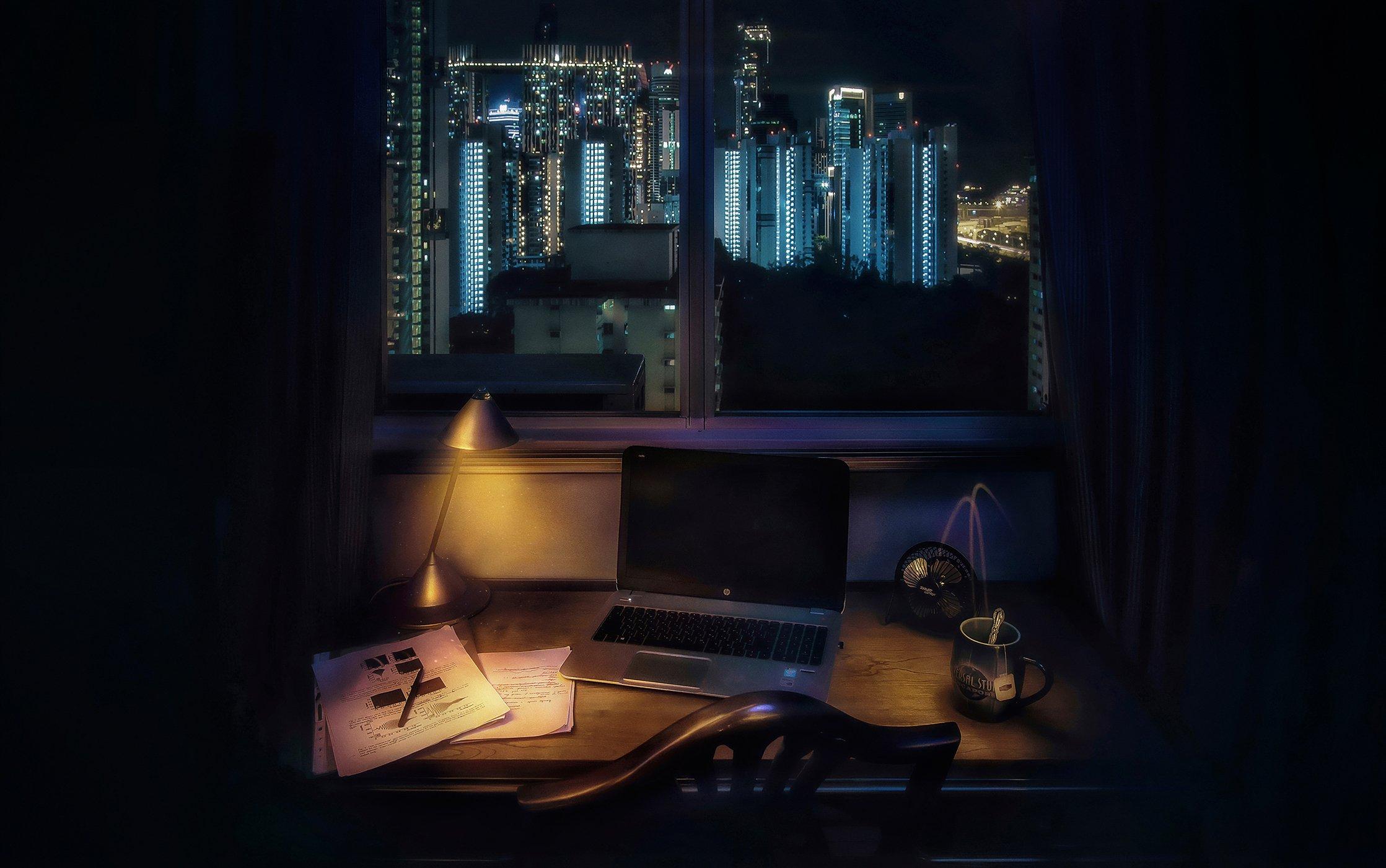 город, сингапур, архитектура, длинная выдержка, ночь, Алексей Ермаков