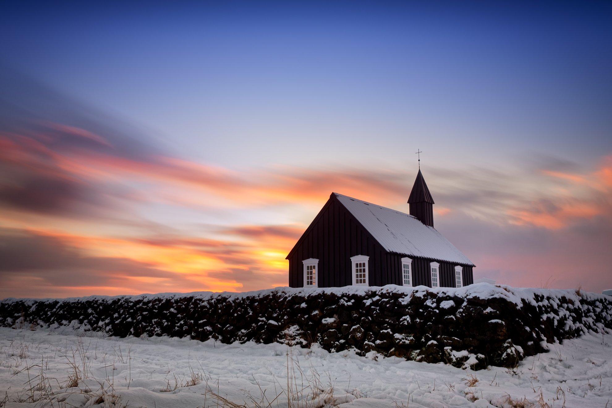 исландия, iceland, sunset, церковь, church, budir, Сергей Курля