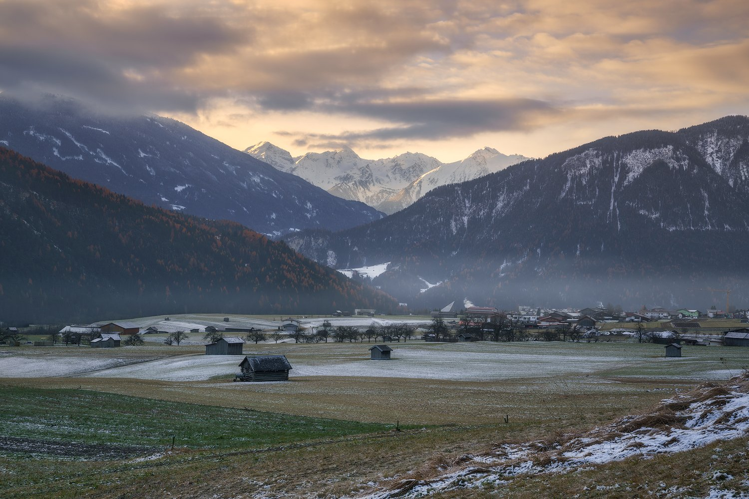 acres, agriculture, alps, austria, austrian alps, barns, forest, fruit trees, gurgltal, hauses, hey barns, hills, huts, imst, larch trees, larches, meadows, morning, morning glow, mountains, outdoors, peaks, snow, tarrenz, tyrol, valley, village, winter, Ludwig Riml