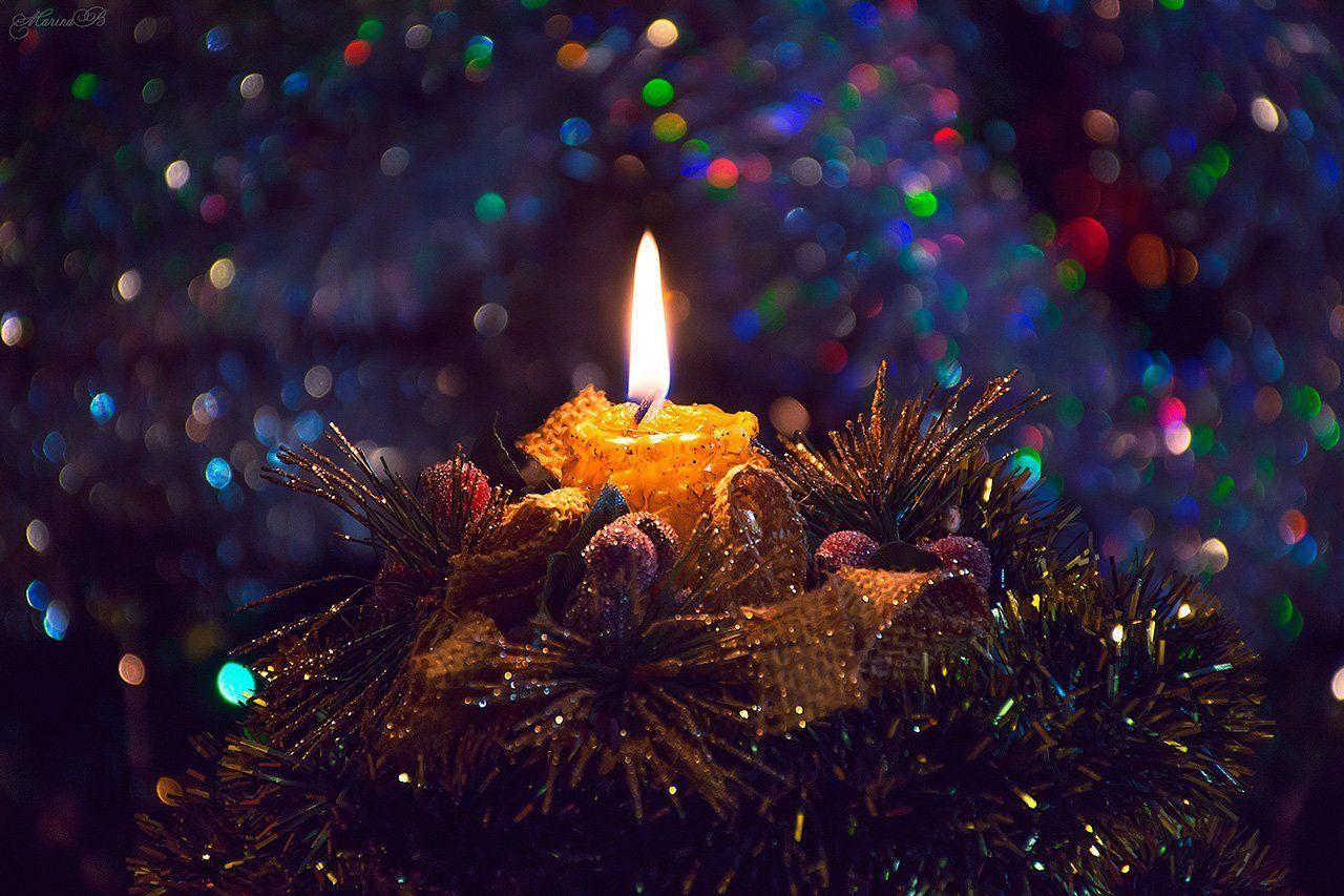 новый год, свеча, боке, Marina Bozhko