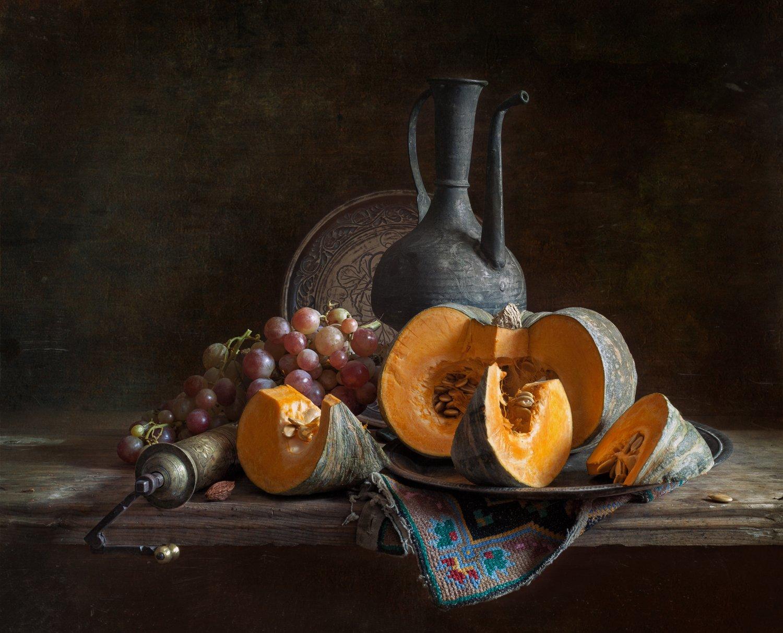 натюрморт, тыква, виноград, still life, pumpkin, grapes, Евгений Корниенко