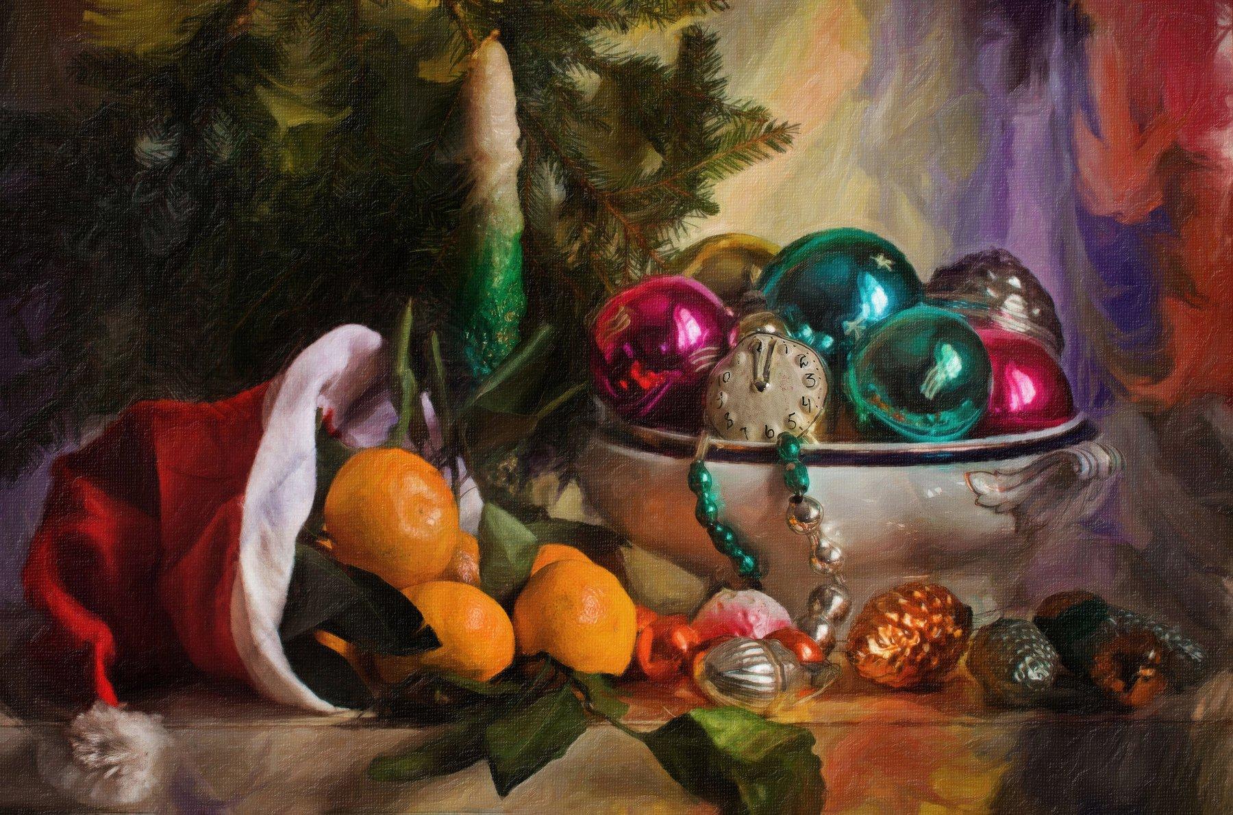 натюрморт, стекло, фарфор, игрушки, мандарины, ёлка, новый год, Анна Петина